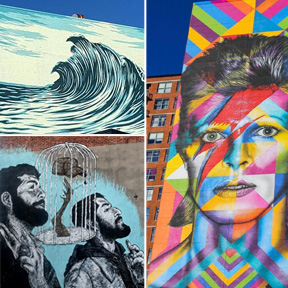 Mural Collage Waves on a beach, abstract colorful David Bowie, 2 bearded men looking up at the sky