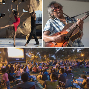 Performer Collage Man and a woman doing modern dance, Guitar player, and crowd sitting on a lawn waitchinga huge screen