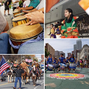 Collage of several images. drum playing, people marching on horseback, drummers marching, children dancing in ethnic garb
