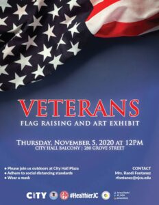 Veterans Flag Raising/Art Exhibit Royal Blue with Star from American flag draped in Corner.