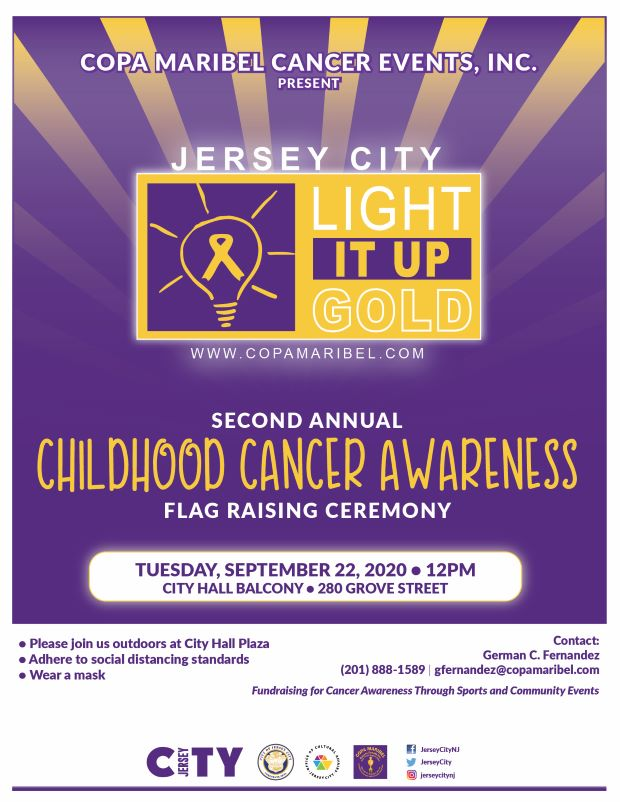 Childhood Cancer Awareness Flag Raising. Flyer has a purple background with gold sun rays coming from behind a rectangular box with a light bulb in it.