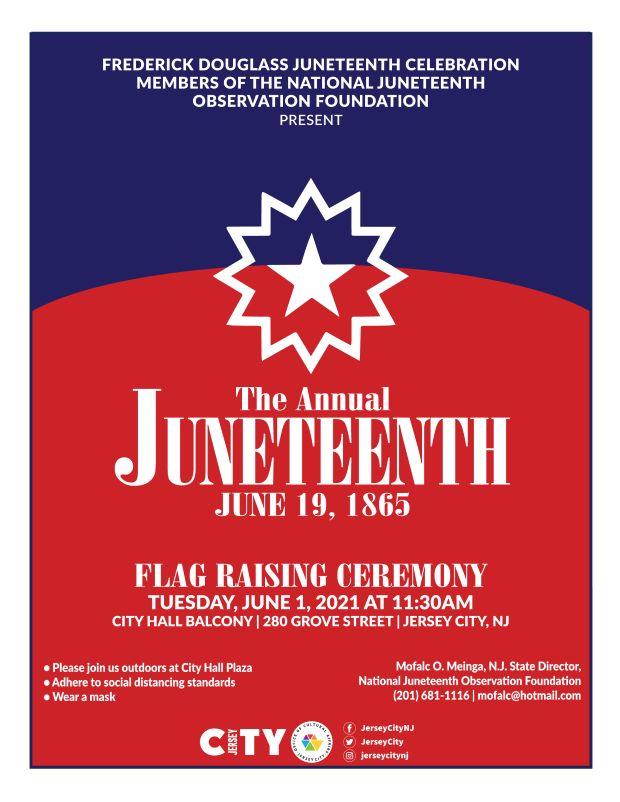 Juneteenth Flyer. Background depicts the Juneteenth Flag. The flag is red, white and blue which represents the American flag. There is a white star in the center .The star represents the freedom of African Americans in all 50 states. White wordage appears detailing the event.