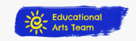 Educational Arts Team Logo Purple background with a yellow sun