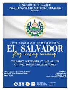 El Salvadorian Flag Raising. Blue background with horizontal white stripe near top