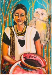 Lila Downs Self Portrait. Lila is dressed traditionally to reflect her Hispanic culture