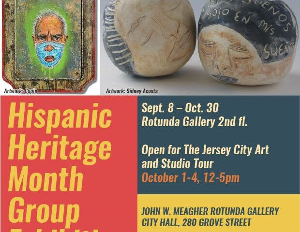 Hispanic Heritage Month Groupl exhibition Post. Man with Maks pictured, along with of rocks that have faces