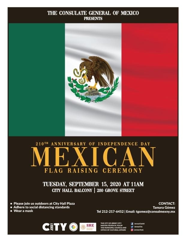 Mexican Flag Raising Vertical stripes of Green then white, then red. Eagle crescent centered in middle