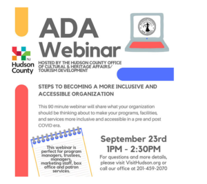 ADA Webinar Flyer. White background. Black text, Red, Blue & Yellow accents