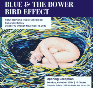 Blue and the Bower Bird Effect by Ronit Oanono. Naked women curled up in a womb like nest