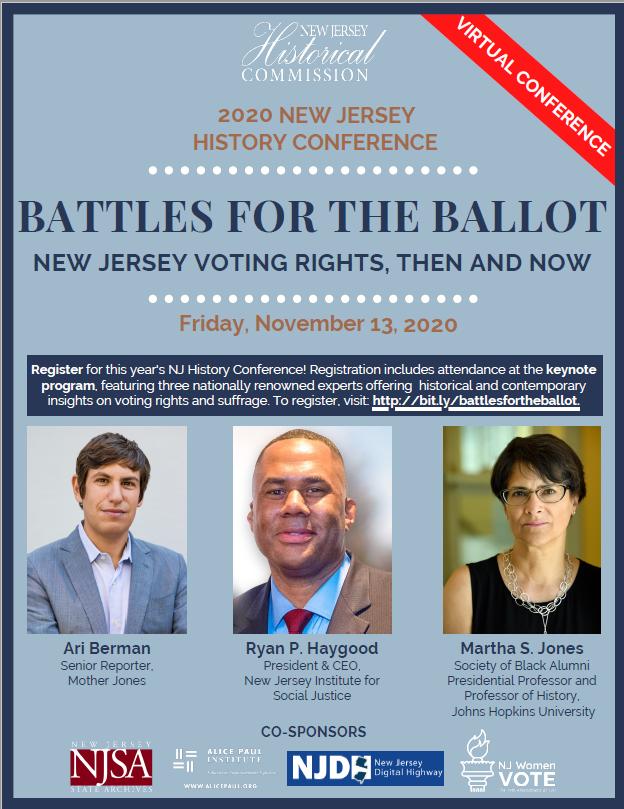 NJHC flyer. Blue grey background Speakers pictured Na and orange wordage detailing events