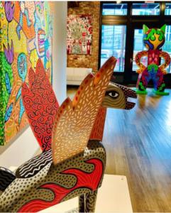 NOVADO GALLERY DAN FENELON PRIMORDIAL POP EXHIBIT Picture of colorfull pieces of artwork