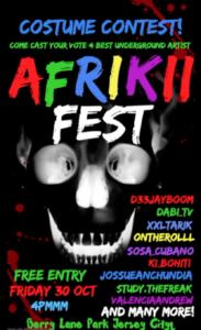 AFRIKKII FEST FLYER. bLACK BACKGROUND WHITE SKUL WITH COLORFUL LETTERING DETAILING EVENT