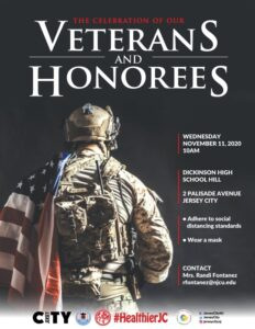 Veterand and Honerees Flyer Black background that is serving in combat with American flag