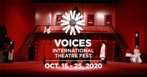2020 VOICES International Theatre Fest Flyer Red lighted Stage with white wordage detailing event