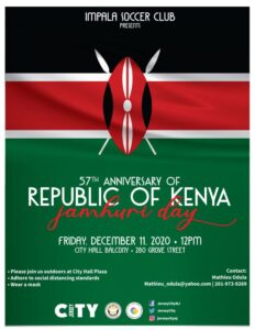 Republic of Kenya Flag Raising Flyer Black horizontal strip on top following by a red one. Bottom Half of flyer is green