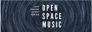 OPEN SPACE MUSIC LOGO BLACK SWHIRL BACKGROUND WHITE LETTERING