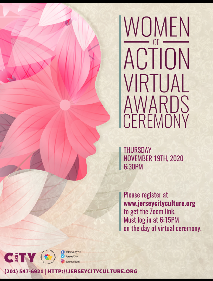 Women of Action Virtual Awards Ceremony Flyer. Beige background with pink flowers on left Wordage detail event on right side