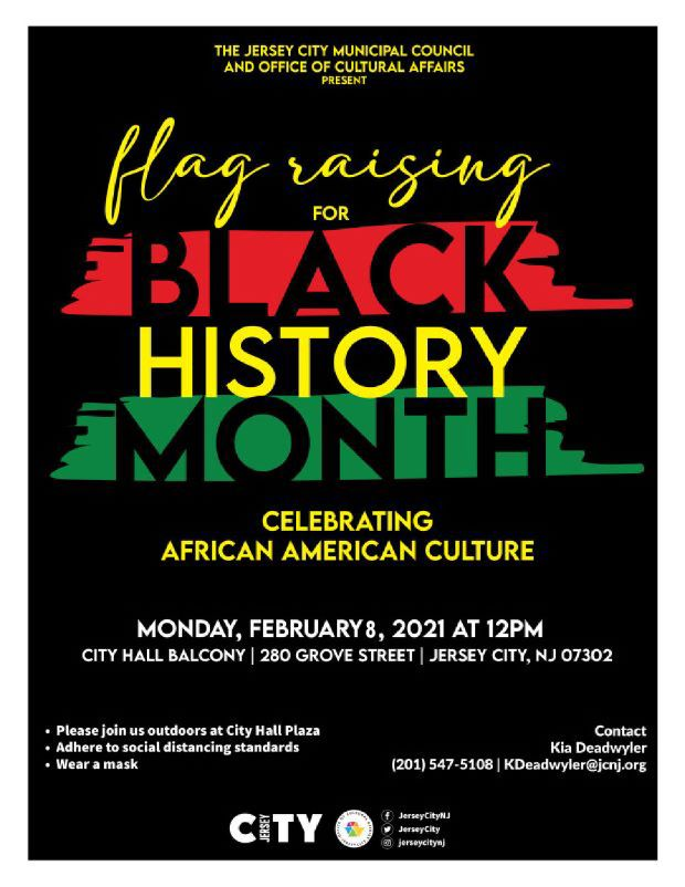 Black History Month Flag Raising Flyer Black background. Horizonatal splashed of red and green. Yellow wordage detailing event.
