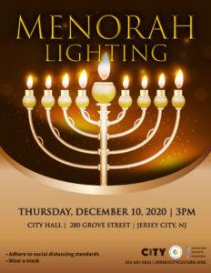 Menorah Lighting Flyer detailing event. Beautifully lite Menorah pictured