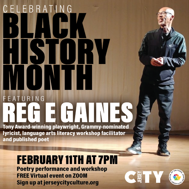 Black History Month Flyer. Featuring a pic of Reg E Gaines