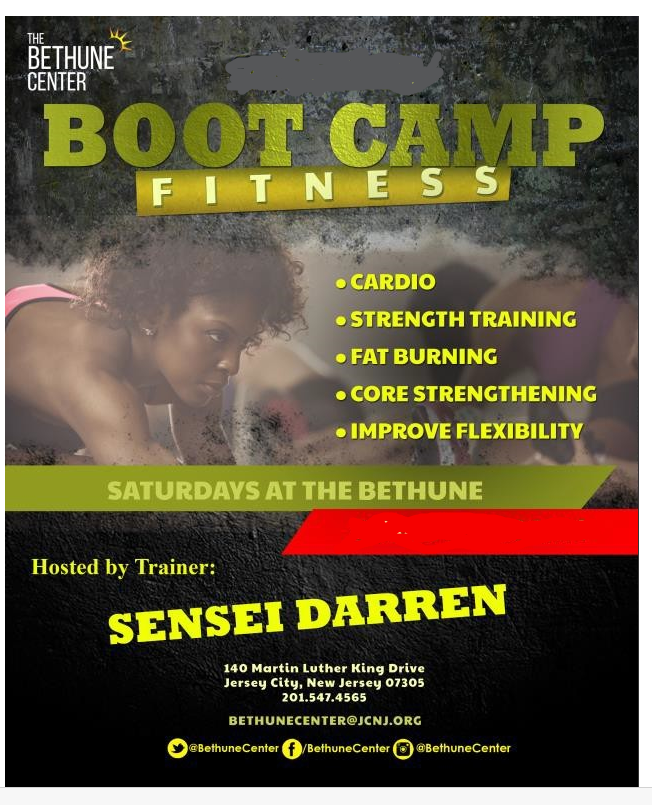 Bethune Boot Camp Flyer. Women in athletic attire working out pictured. Wordage detailing classes appear.