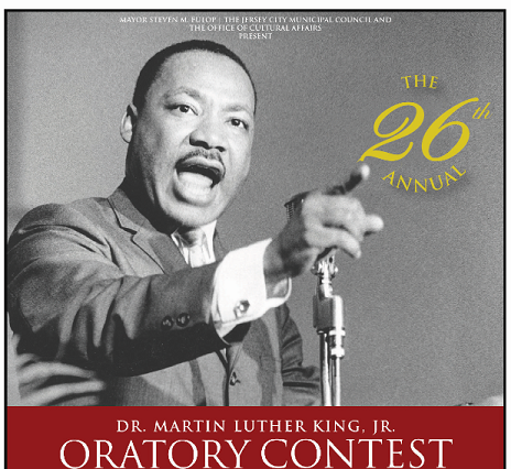 Dr. Martin Luther King is pictured giving a speech. Oratory contest wordage appears detailing event