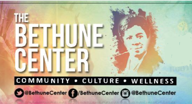 The Bethune Center Logo. A portrait of Mary Mcleod appears done is soft pastel colors. Wordage about the Bethune Center appears