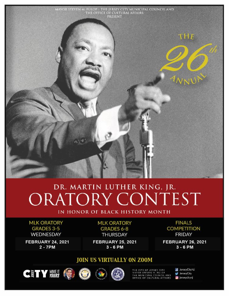 Martin Luther King Oratory Contest flyer. Dr. Marin Luther King is pictured giving a speech. Wordage appears detailing event.