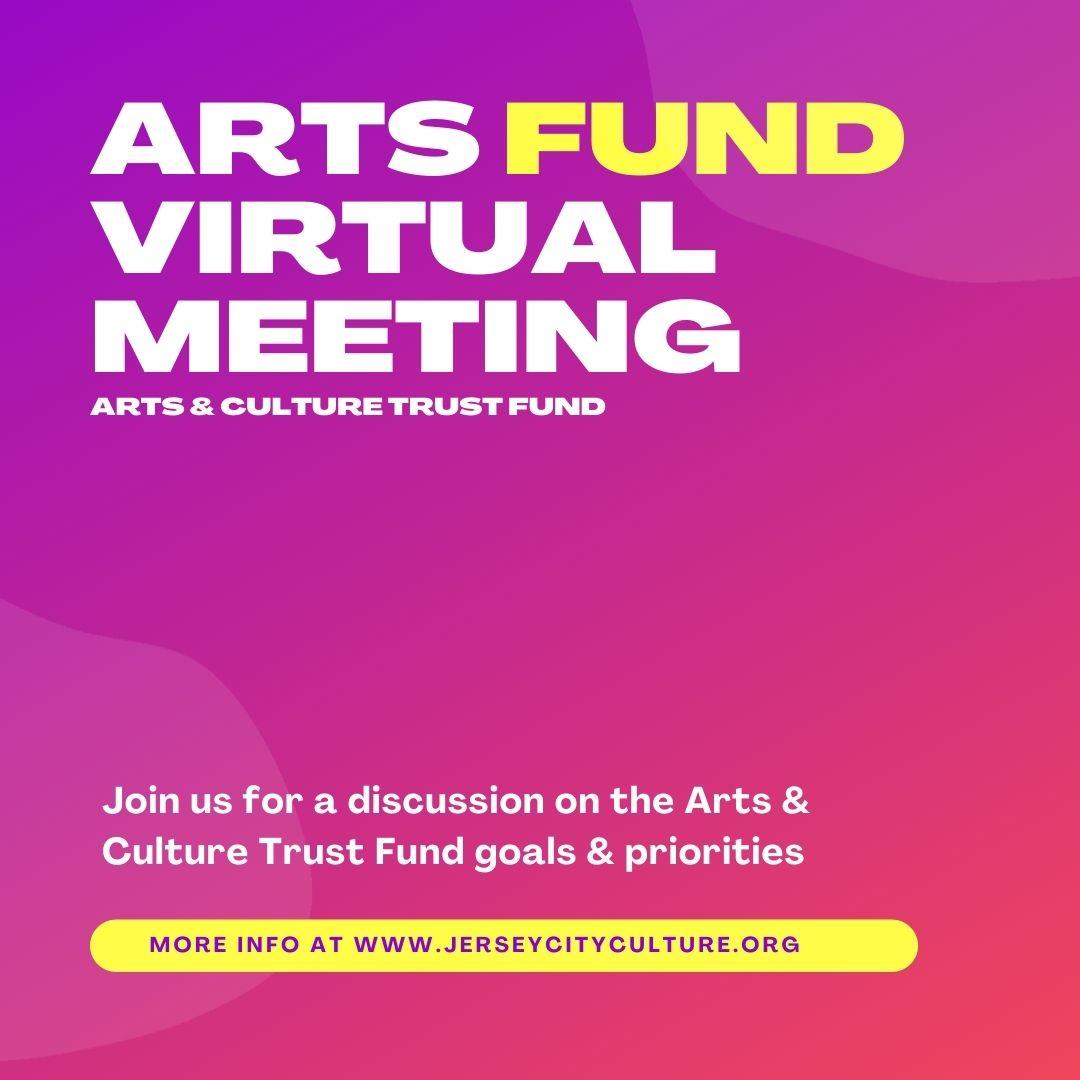 Arts Fund Virtual Meeting Fuchsia background White and yellow wordage detailing Meeting