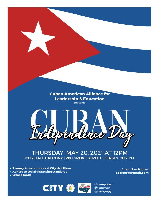 Cuban Flag Raising Primarily blue with a portion of the Cuban Flag represented on the top. Horizontal white stripes Red triangle with white star in center. White wordage detailing event.