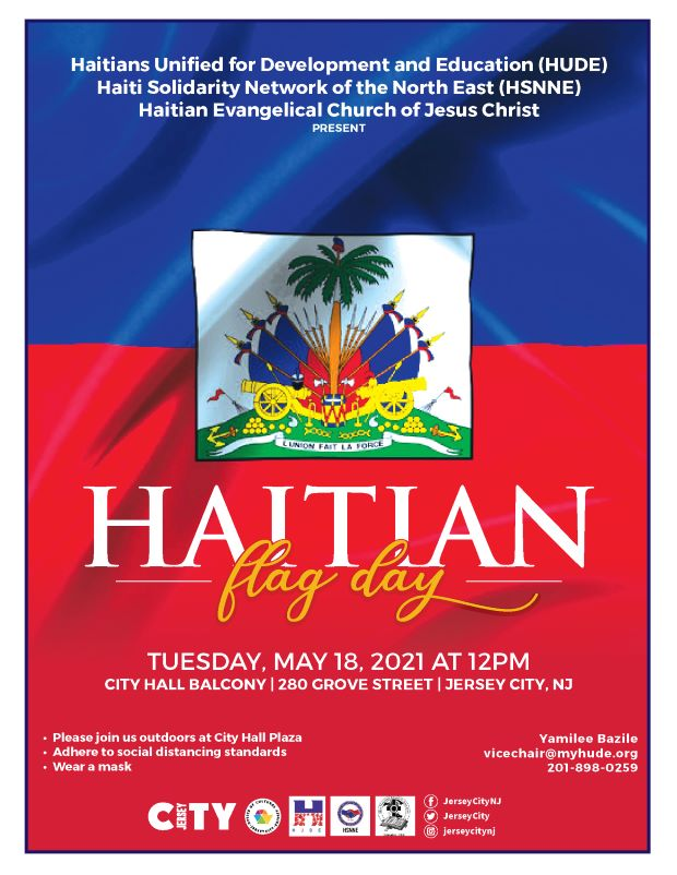Haitian Flag raising Flyer. Upper portion of flyer has blue followed by red. A crest is centered between the 2 colors. White and orange wordage details event.