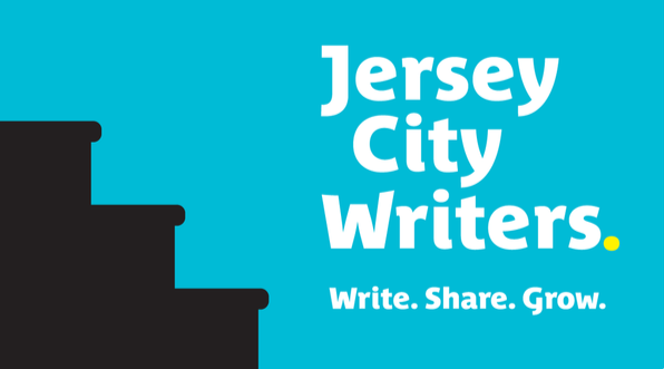 """JCW Logo Blue background Silhouette of stacked black books on far left. """"Jersey City Writers"""" appears in white lettering. Along with the words write, share grow."""