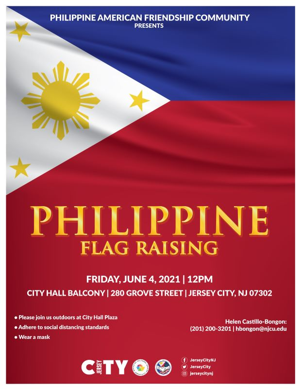 Philippine Flag Raising Flyer. The Philippine national flag creates the background. It consists of a rectangular design that consists of a white equilateral triangle in which there is gold sun surrounded by gold stars. There is also a horizontal blue stripe followed by a horizontal red stripe