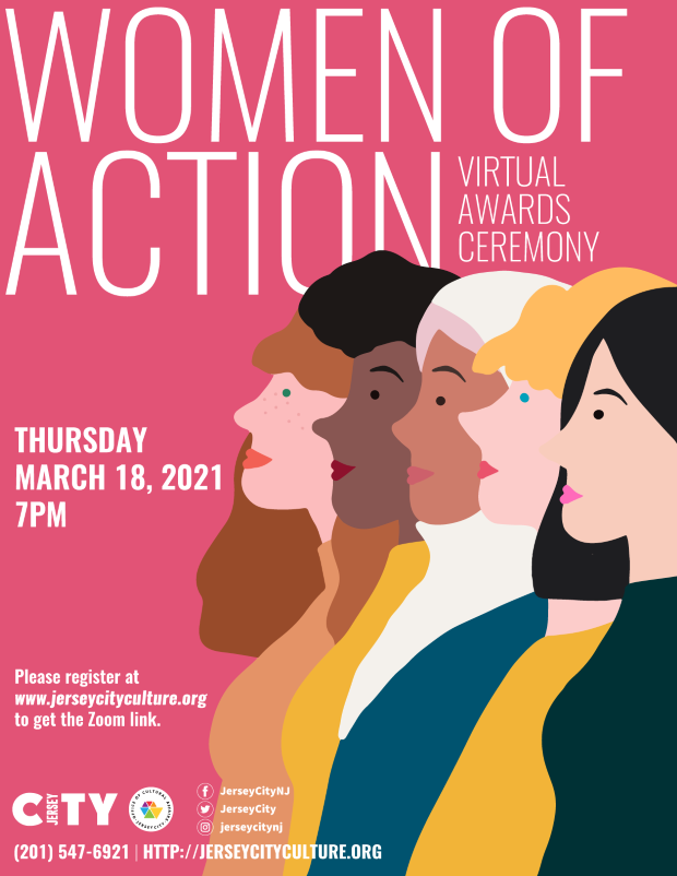 Women of Action Flyer Side profile of 5 women of different races pictured. Soft pink back ground, white wordage.
