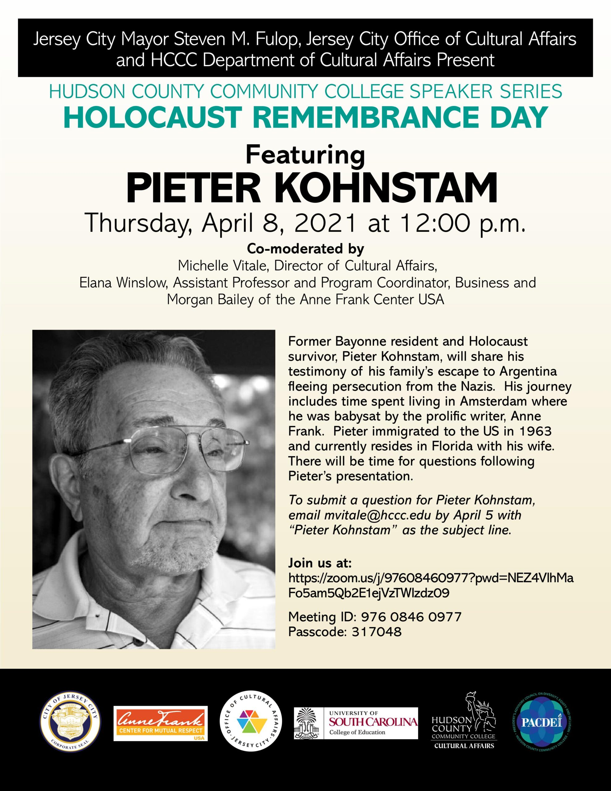 HCCC SPEAR SERIES FLYER APRIL 8TH EVENT WITH SPEAKER PIETER KOHNSTAM PICTURED