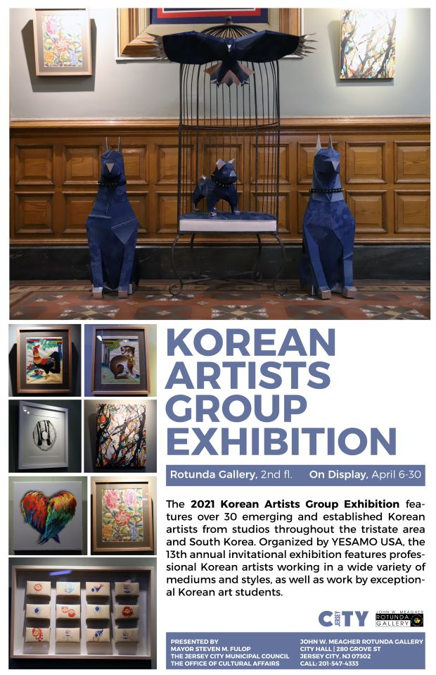 Korean Artist Group Exhibition Flyer. Top picture Bright blue wooden animals are depicted. Smaller one in a bird cage with aeagle rest on top with its wings spread. The other two are much bigger position to the left and right of the cage.