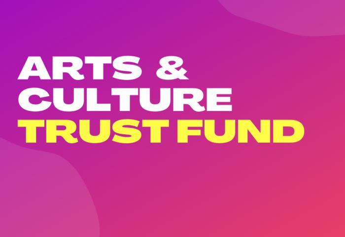 Art & Culture Trust Fund Fuchsia background White and yellow wordage