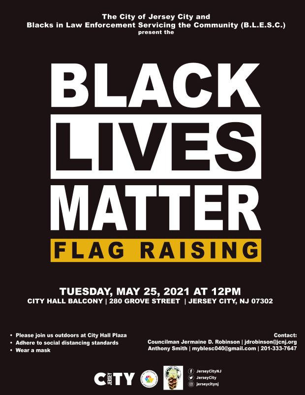 Black Lives Matter Flag Raising Flyer Black background white lettering with dark yellow accents detailing event