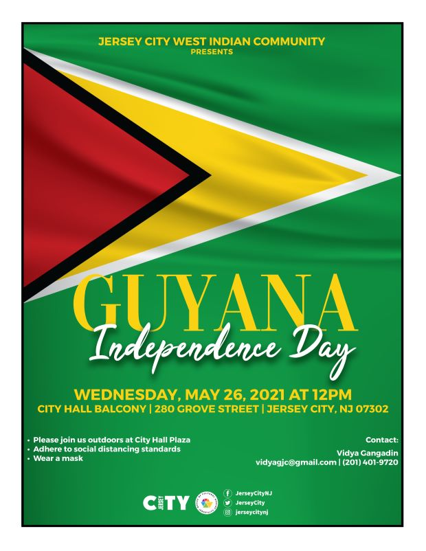 Guyana FR Flyer The is depicted, which has A green field with the black-edged red isosceles triangle based on the hoist-side superimposed on the larger white-edged golden triangle, also based on the hoist-side, pointed toward the fly-side.