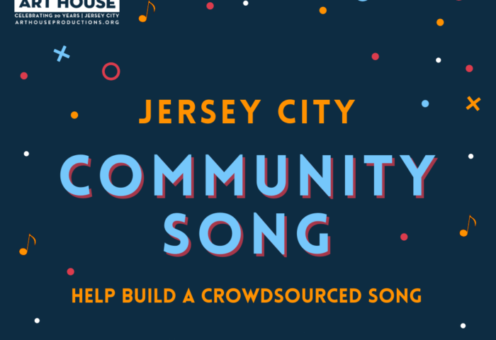 Community song flyer Black background Pwoder blue, okra and white confetti. Wordage in same colors detailing event
