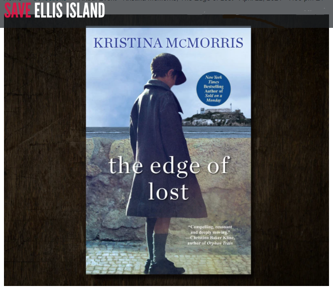 """Front cover of Kristina McMorris's book, """"The edge of lost"""" A little girl dressed in vintage clothes with Ellis Island in the background"""