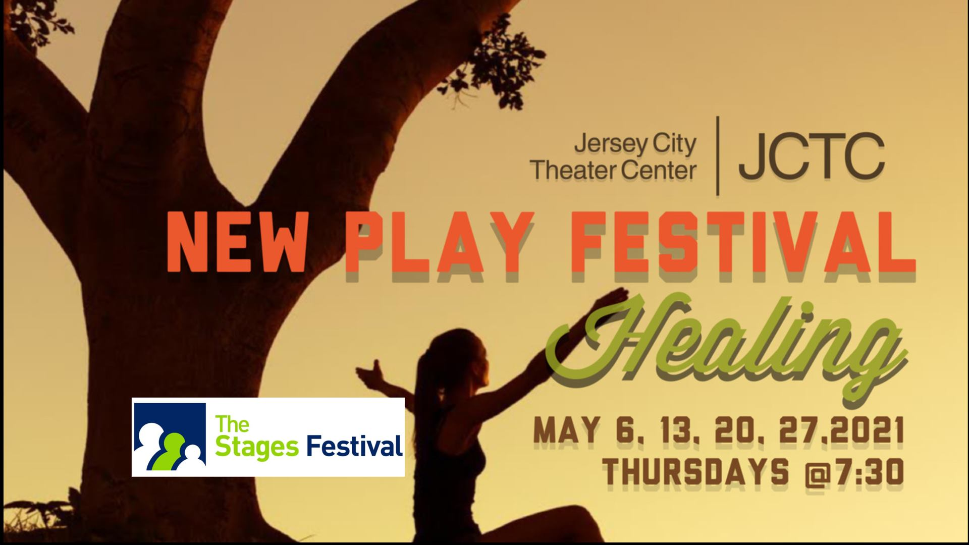 JCTC New Play Festival Flyer Moon lite yellow background with a large tree on the far left. Wordage in the center A black silhouette of a woman on the bottom.