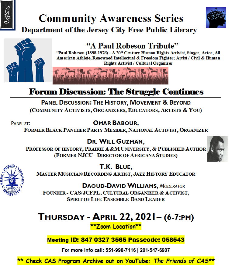 """JCFPL """"A Paul Robeson Tribute"""" Flyer Wordage detailing event"""