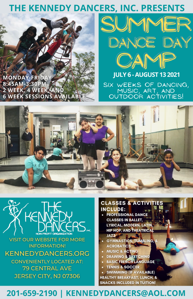 Summer Dance Day Camp Collage Flyer. Cinsister of blocks of wordage amidst children's pictures