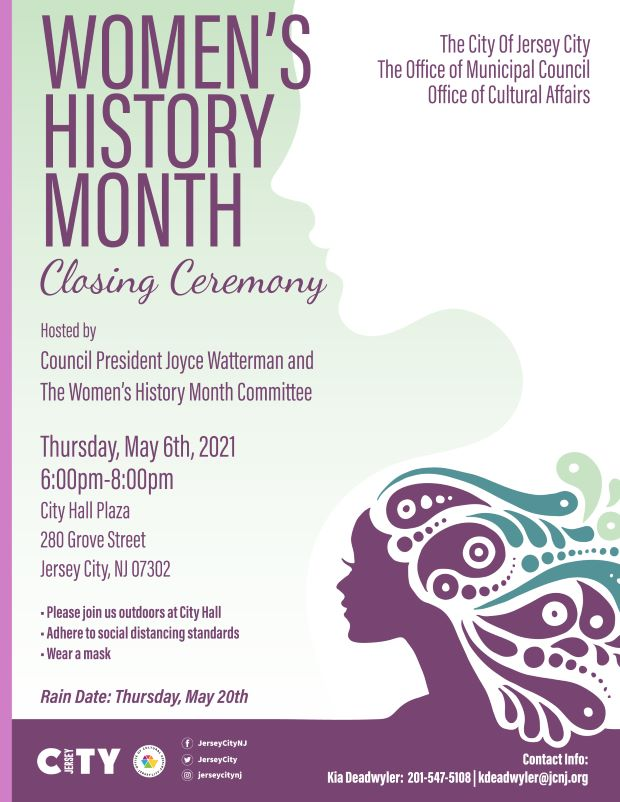 WHM Closing Ceremony Flyer Pale sage and maroon color accent. Side profile of a womanon lower right hand sie. Wordage detailing event down center.