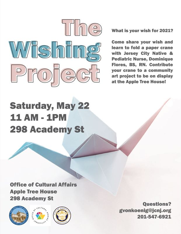 Wishing Project Flyer. Light pink and pale blue wordage detailing event. Paper crane pictured towards bottom.