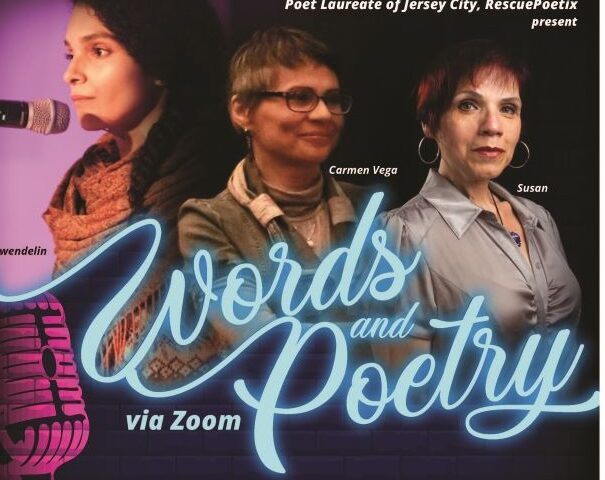Words and Poetry Flyer. Identical flyers, side by side. Pictures of Wenedlin, Carmen Vega and Susan are featured along with wordage detailing the event.