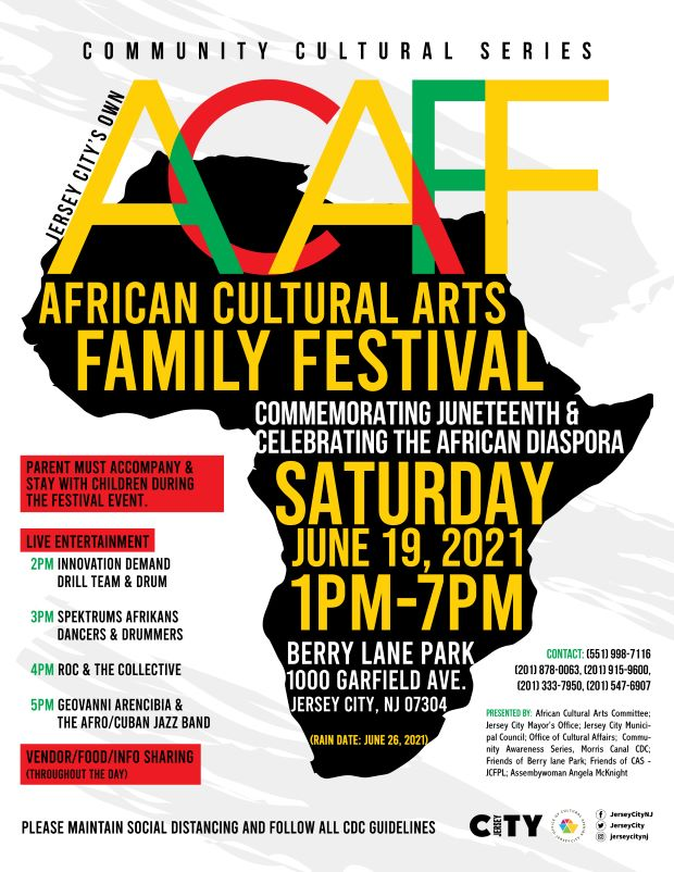 ACAFF Event flyer White background colorful accents/wordage detailing event appear over black silhouette of Africa