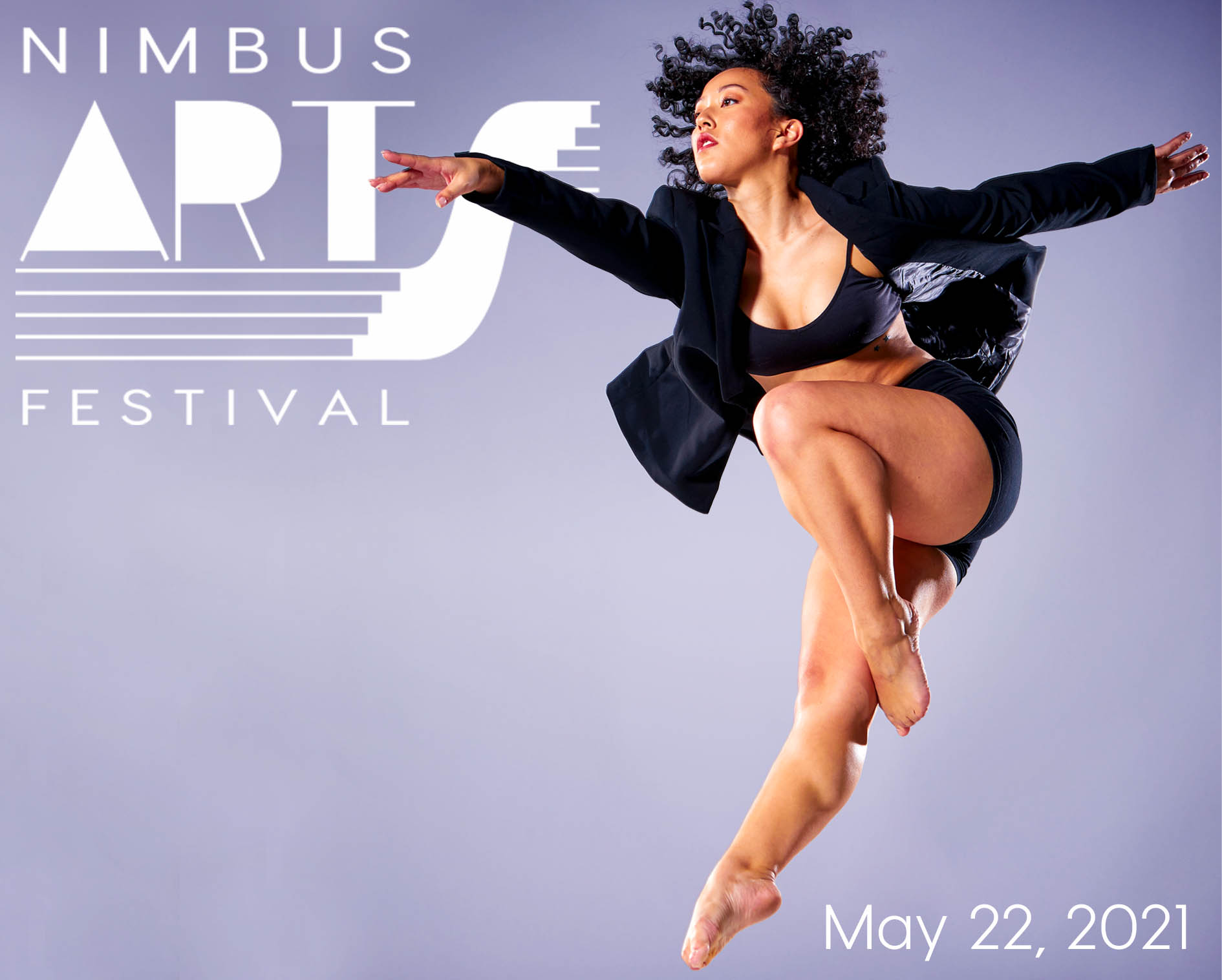 Nimbus Arts Festival Animated Woman caught leaping mid air. Curly black hair wearing a blazer