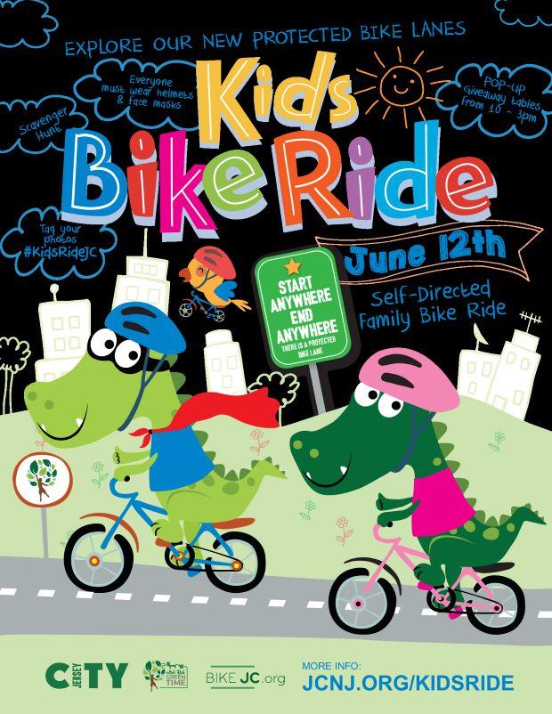Kids Bike Ride Flyer Bold multicolors pop on a black background. Dinosaurs with helmets ride along a city street